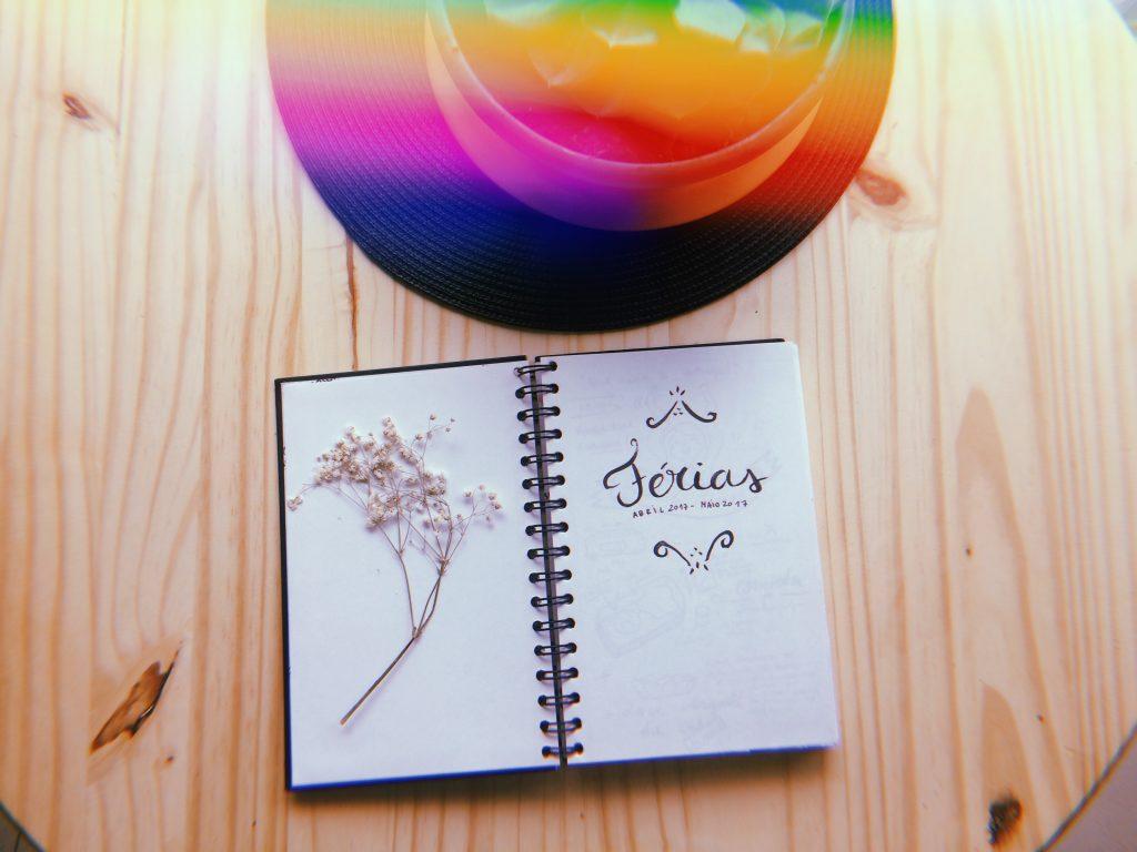 Uma mesa de madeira com uma planta em cima e uma caderno aberto. Na página à esquerda há um delicado ramo de flor seca na página e na página à direita lê-se Férias: Abril 2017 a Maio 2017.