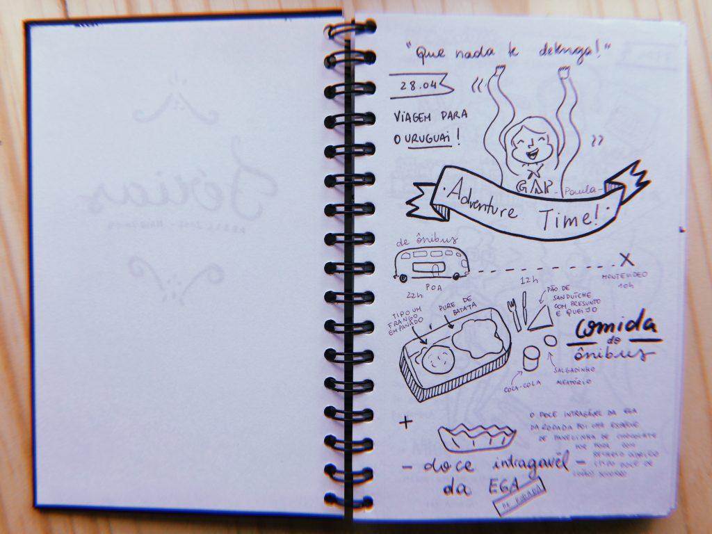Primeira página do diário de viagem. Iniciada o relato: 28 de abril, viagem ao Uruguai.
