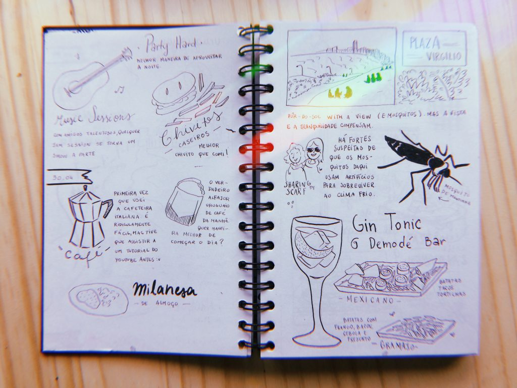 Páginas seguintes do diário de viagem: 30 de abril, café com alfajor. Chivitos e milanesa: comida uruguais são demais. Também teve passeio pela Plaza Virgilio (e muitas picadas de mosquito) e o fim do dia com Gin Tônica no Demodé Bar.