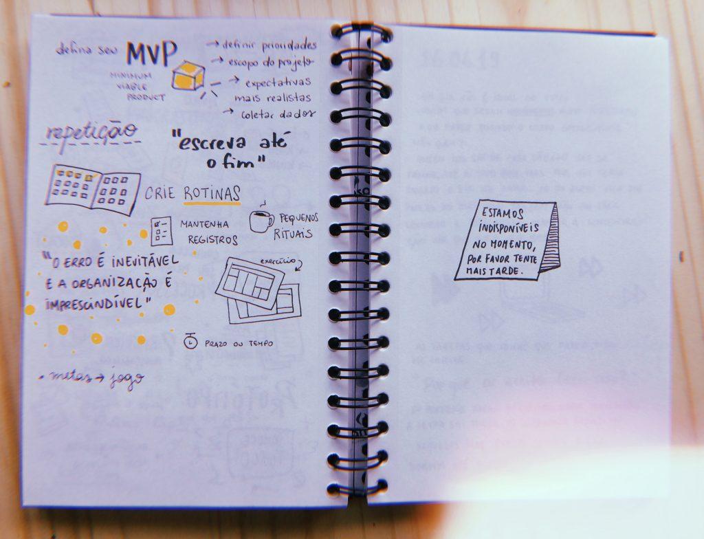 Foto do caderno com resumos gráficos produzidos na oficina da Aline Valek.